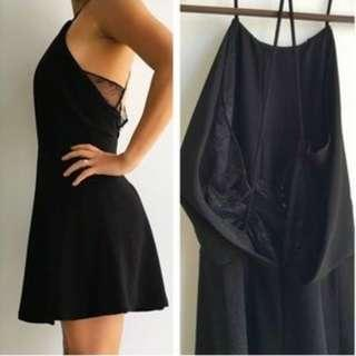 Zara Open Back Lace Black Dress