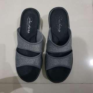 Skechers Memory Foam Wedge Heels Black
