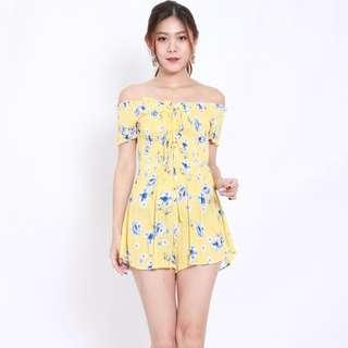 [PO] Yellow Floral Lace Romper