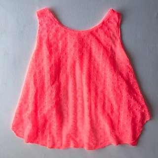 Neon Pink Light Crochet Backless Coverup