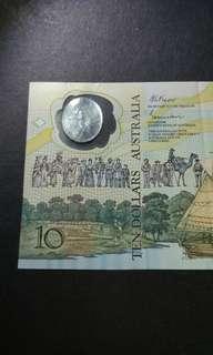 【澳洲紀念鈔】史上首發塑膠鈔國家 1988年澳洲拾元 EF品相 AB18760875