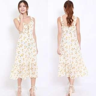 [PO] Yellow Ruffle Sleeve Dress