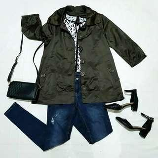☇LP☇Military Green Satin Trench Coat