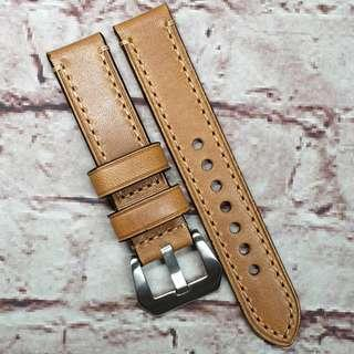 CNY SALE : Premium Genuine Leather 20mm Watch Strap Brown Colour Full Stitch (1012B20)