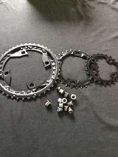 shimano SLX 3speed chain rings with bolts