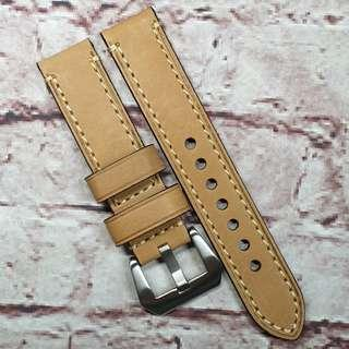 CNY SALE : Premium Genuine Leather 20mm Watch Strap Tan Colour Full Stitch (1036T20)