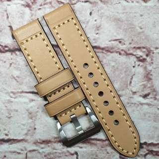 CNY SALE : Premium Genuine Leather 22mm Watch Strap Tan Colour Box Stitch (1036T22)