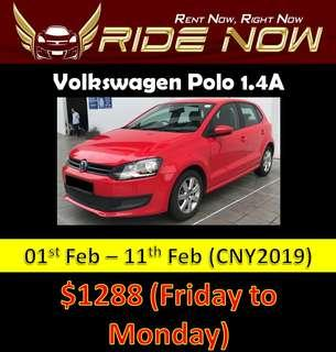 Volkswagen Polo 1.4A Cheap CNY Car Rental P Plate Friendly