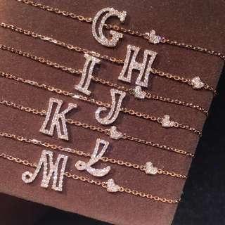 A-Z 18k鑽石手鏈頸鏈 字母鏈