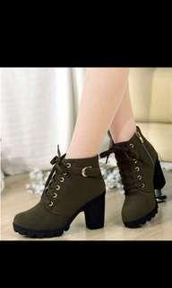 Green platform heel boots