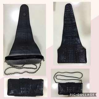 Crocodile skin sling bag