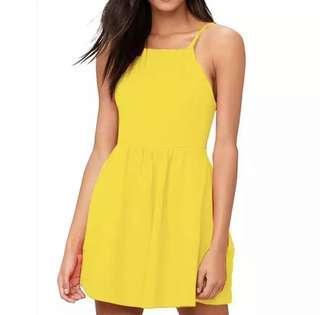 XL Maxi Yellow Halter Dress