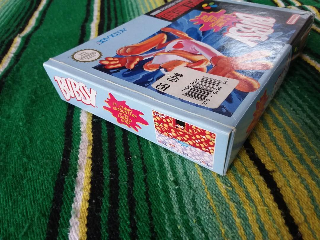 1993 Super Nintendo Video Game Bubsy Original Box SNES Rare