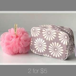Make Up Pouches Cosmetic Pouch Travel Cosmetic Bag Makeup Pouch Makeup Bag Travelling Multi Purpose Bag Large Bath Sponge Body Sponge Body Wash Bath Scrub Body Scrub Body Scrubber Pouf