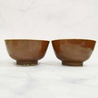 Old Porcelain blue and white gold fish Bowl set 民国酱釉青花手绘金鱼碗 X2