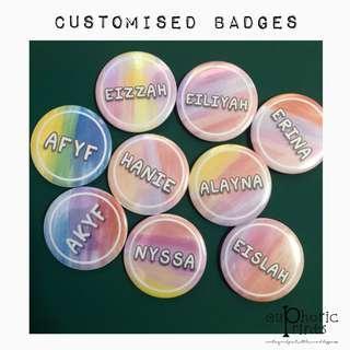 Customised / Personalised Badges