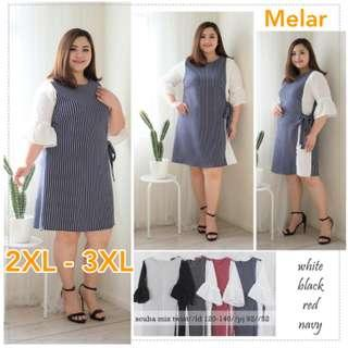 Stripe Dress Jumbo XXL XXXL Dress Tangan Terompet Jumbo