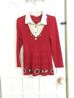 🚚 紅色長版洋裝式毛線衣