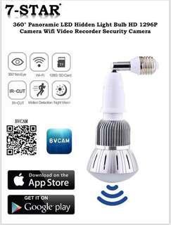 [UPGRADED]SPY Lightbulb Spy Camera-Wireless Wifi Spy Pinhole IP Camera(Full-HD 1296P, Night-Vision, Audio-Recording, Panoramic 360 Degree Fisheye Lens, APP:BVCAM) 360 IP Camera