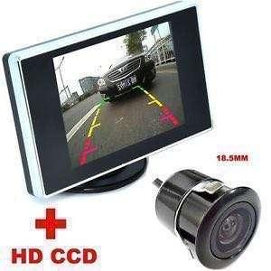 """[Package]Car Reverse Rear Camera(18.5MM) with Parking Guide Line + 4.3""""inch Car LCD Monitor System with 6M Video Cable (Model No:SC69CM) - For:Car, Lorry, Truck, Van, Bus, Crane, Excavator 24V-12V Front and Back Car Camera"""