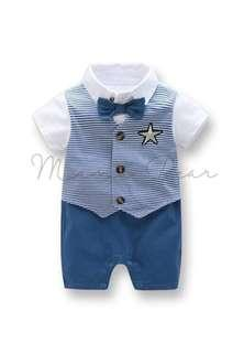 Star Stripe with Bow Tie Smart Casual Romper Outfit