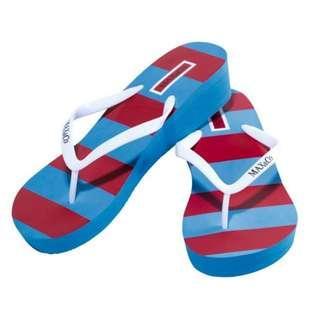 包順豐櫃 1套2件 MAX&Co. 船踭人字拖鞋 紅藍間條設計 flip flop 全新+全新無包裝黑色 拉繩袋 鞋袋 雜物袋