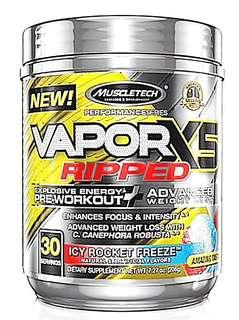 Vapor X5 Ripped, Pre-Workout,  Explosive Energy + Advanced Weight Lost. Weight Lifting and exercise. ( Icy Rocket Freeze 30serving)