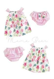 Floral Top and Bottom Set Flower Ruffle Baby Dress