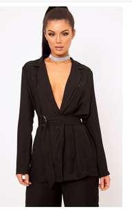 PLT Black silk blazer with belt