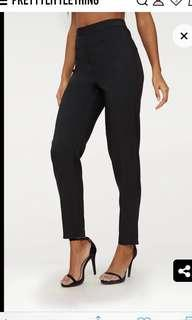 Black straight skinny leg tailored trousers