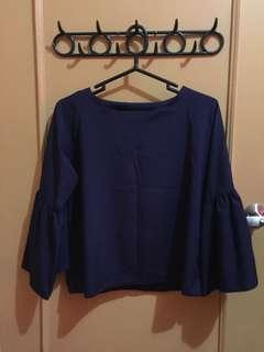 Navy Blue Bell Sleeves Top from Bangkok