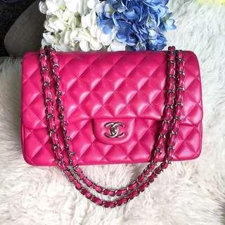 💕Very Good Deal!💕 Chanel Jumbo DF in Fuschia Pink Lambskin SHW