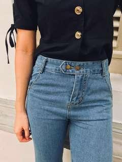 [BN] Adeline Double-buttoned High Waist Denim Jeans