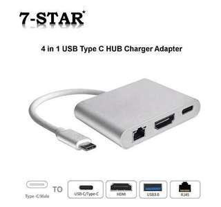 4 Port USB C Hub - Portable 4 In 1 USB Type-C 4K/2K HDMI RJ45 Hub PD Charger Converter Lan Adaptor External [USB-C Type-C to RJ45 Lan Ethernet+HDMI+USB3.0]