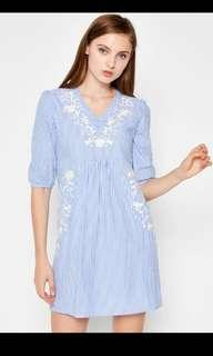 Brand new love and bravery epperly embroidered dress light blue