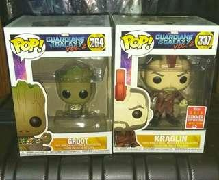 (ON HAND) Groot with Candy Bowl & Kraglin Guardians of the Galaxy Marvel Funko Pop Bundle