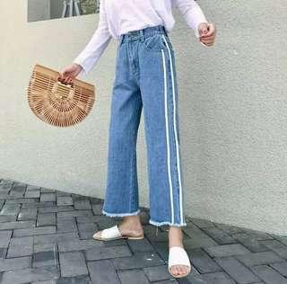 [BN] Maureen White Stripes High Waist Denim Wide Leg Jeans