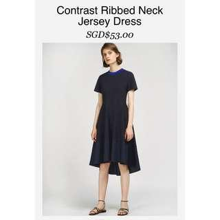 Saturday Club Contrast Ribbed Neck Jersey Dress with Asymmetrical Hem