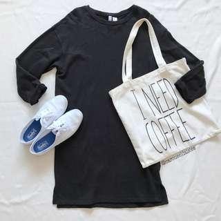 H&M Black Grey Oversized Dress