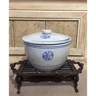 🚚 早期古早味 豬油陶瓷罐 (直徑 18 cm )
