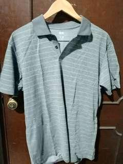 Uniqlo Grey Striped Dry Ex Polo Shirt Size XL