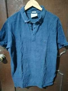 Springfield Dark Blue Linen Polo Shirt Size XL
