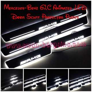 WHITE Mercedes-Benz GLC X253 Mercedes Benz AMG Design Sweeping Glowing Animated Moving Running Illuminated LED Door Sill Scuff Protector Plates GLC200 GLC250 GLC300 GLC350 GLC43 GLC63 Available in 2pcs | 4pcs Set