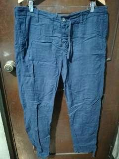 H&M Dark Blue Linen Button Fly Pants Size 36