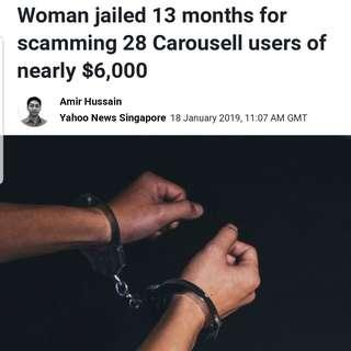 Woman jailed 13 months for scamming 28 Carousell users of nearly $6,000