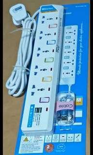 5-Way Multi Extension Plug with 2 USB slot
