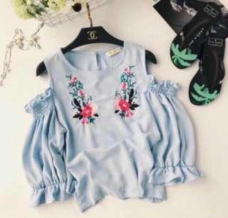 🌷(IN STOCK) Embroidery Off Shoulder Top Blue