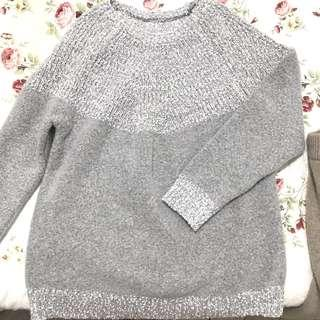 🚚 正韓 灰白鑲嵌針織毛衣毛料上衣