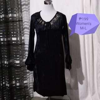 🥀Black Velvet Dress