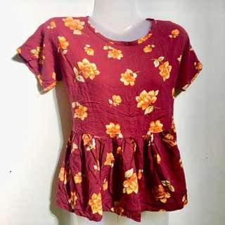 cropped maroon and mustard top